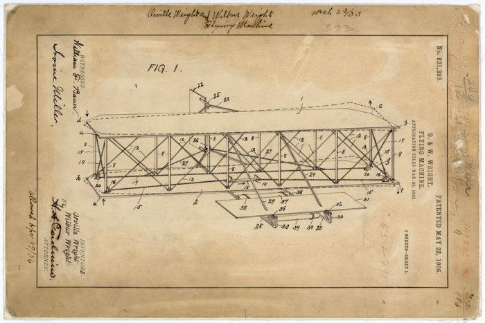 Первый в мире самолет. Иллюстрация из пропавшего патента. | Фото: hyperallergic.com.