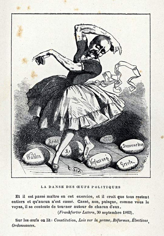 Йозеф Кеплер «Политический танец с яйцами», 1863. <br>