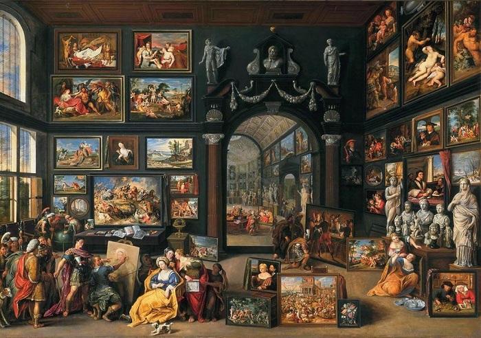 «Апеллес рисует Кампаспу(Александр Македонский в мастерской Апеллеса)». (ок.1630). Королевская галерея Маурицхёйс. Гаага. Автор: Виллем ван Хахт.